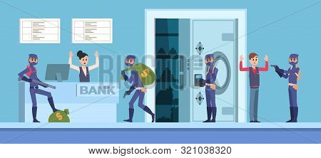 Bank Robbery. Cartoon Scene With Criminal Persons In Mask And Dark Clothes Stealing Money From Bank