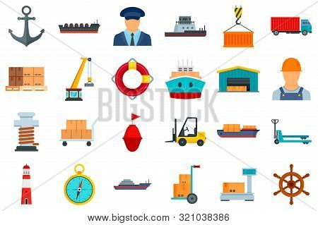 Marine Port Icons Set. Flat Set Of Marine Port Vector Icons For Web Design