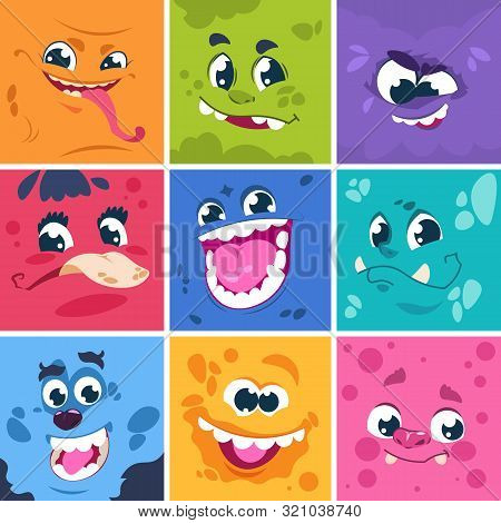 Monsters Faces. Cute Cartoon Characters With Different Funny Expressions, Comic Happy And Scary Mons