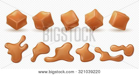 Realistic Caramel. 3d Milk Toffee Splash, Drips And Drops Isolated Confectionery, Sweet Candy Sauce