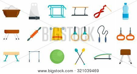 Gymnastics Equipment Icons Set. Flat Set Of Gymnastics Equipment Vector Icons For Web Design