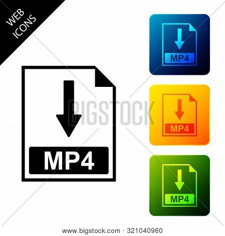 Mp4 File Document Icon. Download Mp4 Button Icon Isolated. Set Icons Colorful Square Buttons. Vector