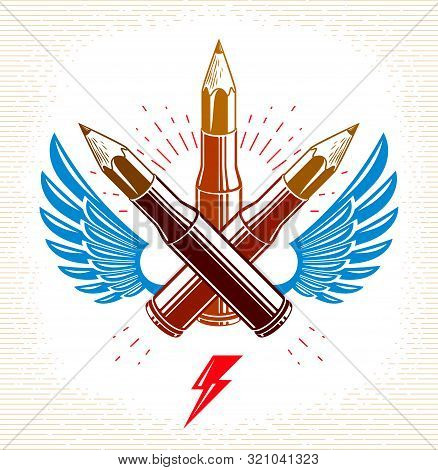 Idea Is A Weapon Concept, Weapon Of A Designer Or Artist Allegory Shown As A Winged Firearm Cartridg