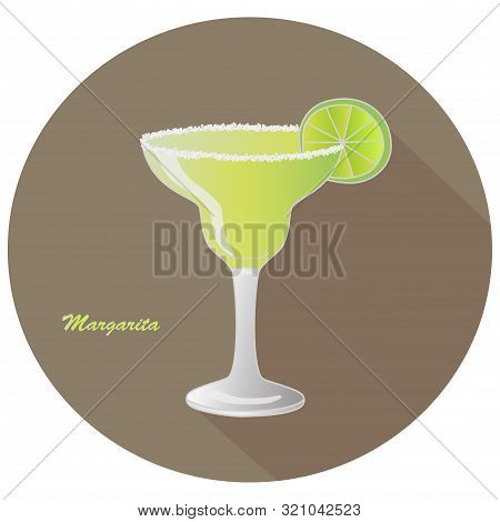 Hand Drawn Vector Of A Margarita Alcohol Tequila And Triple Sec Cocktail With A Citrus Lime Slice De