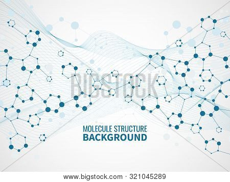 Molecular Structure Background. Pharmaceutical Biochemistry, Medical Technology. Atom Model And Dna