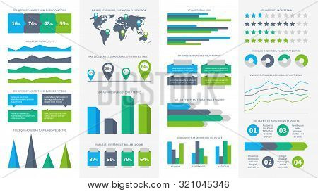 Infographics Set. Charts, Diagrams And Graphs. Flowchart, Data Bars And Timeline For Report Presenta