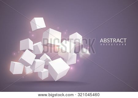 3d Cubes Background. Digital Poster With Geometric Cubes. White Blocks In Perspective, Internet Conn