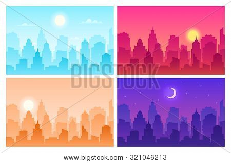 Daytime Cityscape. Panoramic Urban Landscape In Different Time. Skyscrapers, Building Silhouettes In
