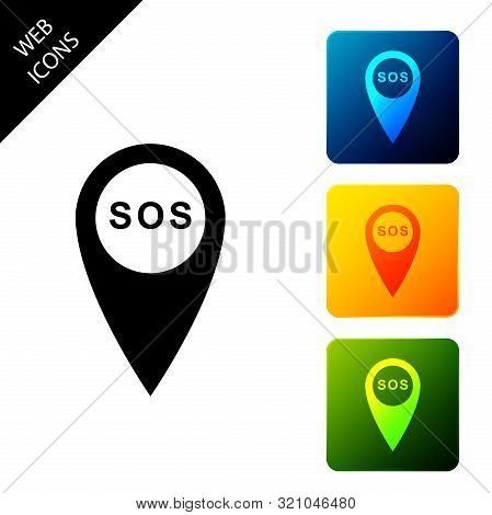 Marker Location With Sos Icon Isolated. Sos Call Location Marker. Map Pointer Sign. Sos Pinpoint Sig