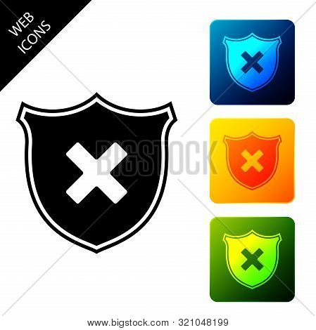 Shield And Cross X Mark Icon Isolated. Denied Disapproved Sign. Protection, Safety, Security Concept