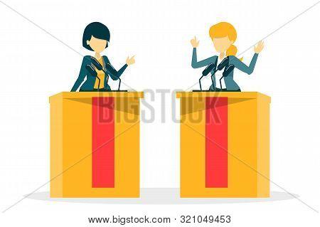 Candidate For President On Debate. Female Speaker