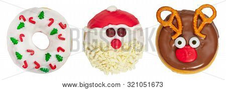 Set Of Christmas Donuts Isolated On White Background. Christmas And New Year Celebration Concept. To