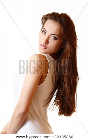 Teen girl beautiful portrait with long brown hair and t-shirt. isolated on white background