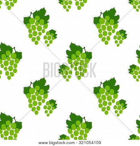 Grape Seamless Pattern. Green Bunch Of Grapes. Hand Drawn Fresh Berry. Vector Sketch Background. Foo