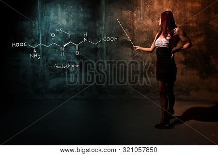Sexy girl or secretary or female student presenting handdrawn chemical formula of glucose molecule poster