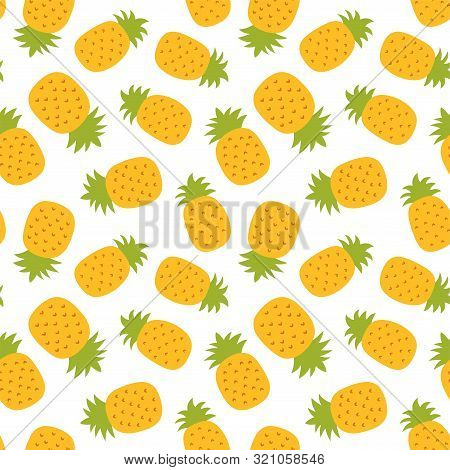 Pineapple Seamless Pattern. Hand Drawn Fresh Ananas. Vector Sketch Background. Color Doodle. Exotic