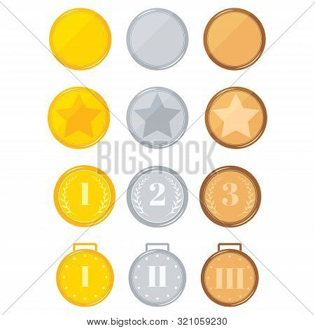 Champion Different Design Medals Set Isolated On White Background Golden, Silver, Bronze Medal.