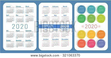 Colorful English Calender. 2020 Year. Pocket Calendar Set. Vector Design Collection. Basic Grid Temp