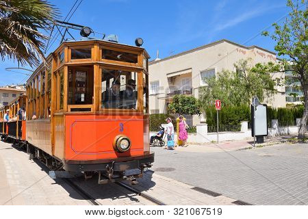 Mallorca, Spain - May 7, 2019: Electric Tram Running Between Soller And The Port Of Soller.