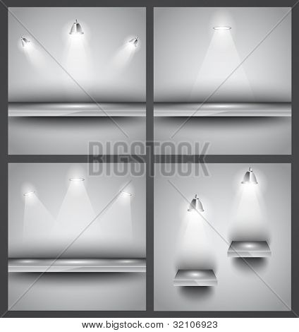 Collection of 4 backgrounds: shop front shelves with LED spotlights. Ideal to feature a product!