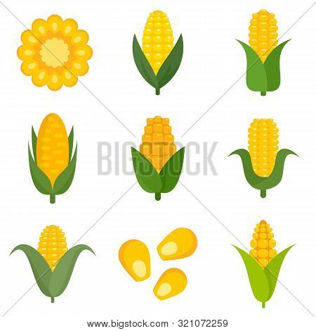 Corn Icons Set. Flat Set Of Corn Vector Icons For Web Design