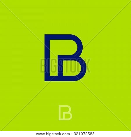 P And B Monogram. P, B Logo. Linear Simple Letters On On A Green Background. The Minimalist Style.