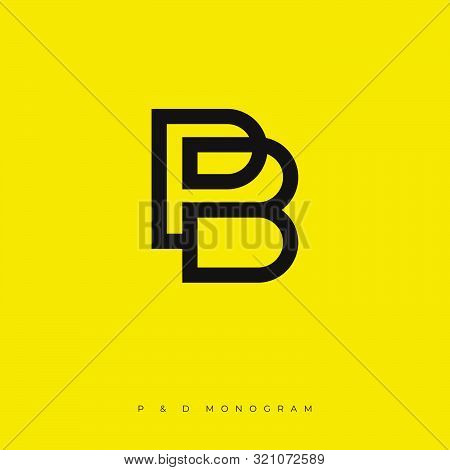P And B Monogram. P, B Logo. Linear Simple Letters On A Yellow Background. The Minimalist Style.