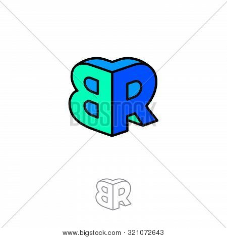 Br Logo. Two Letters Are Connect As The Volume Figure. Multi Color Emblem Like 3d. Monochrome Option