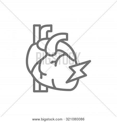 Vector Heart Attack, Myocardial Infarction Line Icon.
