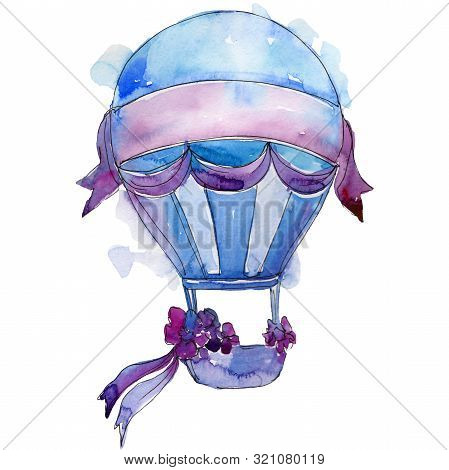 Hot Air Balloon Background Fly Air Transport. Watercolor Background Set. Isolated Balloons Illustrat