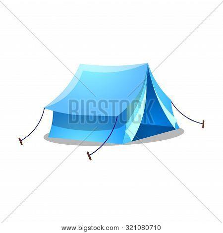 Blue Camping Ridge Tent. Raster Illustration On Isolated Cartoon Style On White Background
