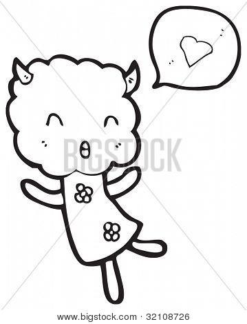 cute cloud head creature in love poster