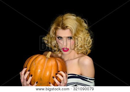 Beautiful Young Girl With Pumpkin. Happy Halloween Holidays. Preparation Halloween Holidays. Woman W