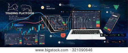 Trade Platform App Screens, Ui Design Smartphone, Tablet, Notebook. Forex Market, Stock Platform, Bi