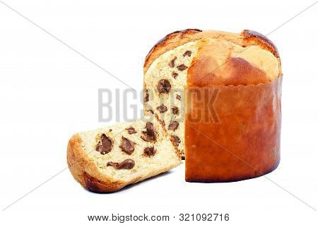 Chocolate Stuffed Panettone, Typical Brazilian Sweet Bread Served As A Dessert For Christmas And New