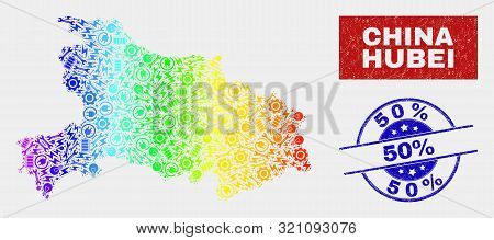 Service Hubei Province Map And Blue 50 Percent Distress Seal Stamp. Rainbow Colored Gradient Vector