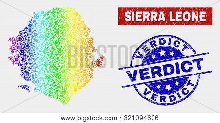 Engineering Sierra Leone Map And Blue Verdict Grunge Seal Stamp. Spectral Gradient Vector Sierra Leo