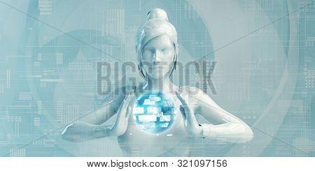 Business Woman Using Digital Solutions Technology Concept Art 3D Render