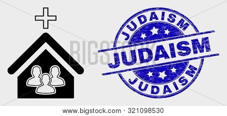 Vector Church People Pictogram And Judaism Seal Stamp. Red Rounded Grunge Seal Stamp With Judaism Te