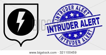 Vector Electric Shield Pictogram And Intruder Alert Seal Stamp. Red Rounded Grunge Seal With Intrude