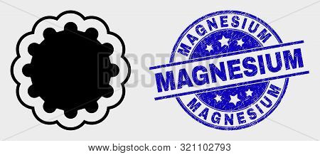 Vector Inner Gear Icon And Magnesium Seal Stamp. Red Rounded Scratched Seal Stamp With Magnesium Cap