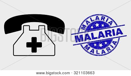 Vector Medical Phone Pictogram And Malaria Watermark. Red Rounded Grunge Watermark With Malaria Text