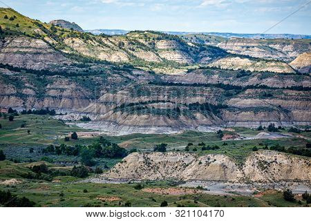 A Panoramic View From The Painted Canyon Overlook In The South Unit Of Theodore Roosevelt National P
