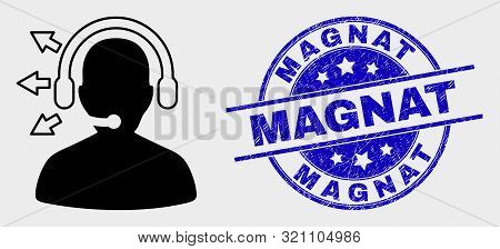 Vector Radio Operator Icon And Magnat Stamp. Red Round Textured Seal Stamp With Magnat Caption. Vect