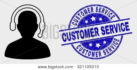 Vector Radio Operator Pictogram And Customer Service Seal Stamp. Red Rounded Grunge Seal Stamp With
