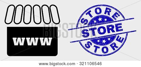 Vector Webshop Pictogram And Store Seal Stamp. Red Rounded Grunge Seal Stamp With Store Text. Vector