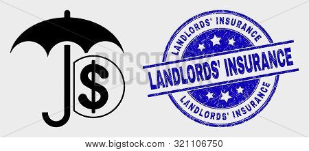 Vector Financial Umbrella Pictogram And Landlords' Insurance Seal Stamp. Red Rounded Scratched Seal