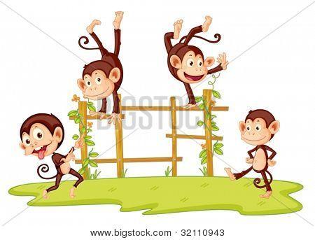 Illustration of monkeys playing on fence