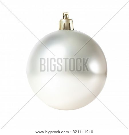 Silver Christmas Ball Isolated On White Background. Close Up. Traditional Christmas Symbol.