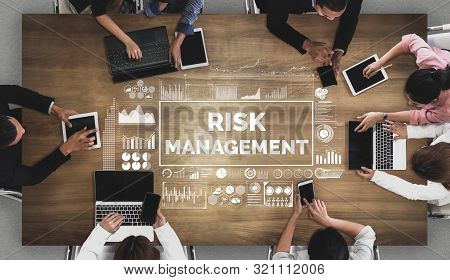 Risk Management And Assessment For Business Investment Concept. Modern Graphic Interface Showing Sym